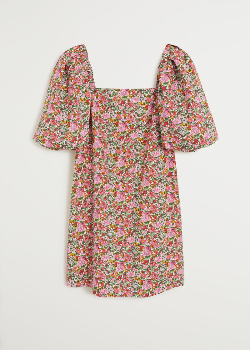 Floral puffed sleeves dress