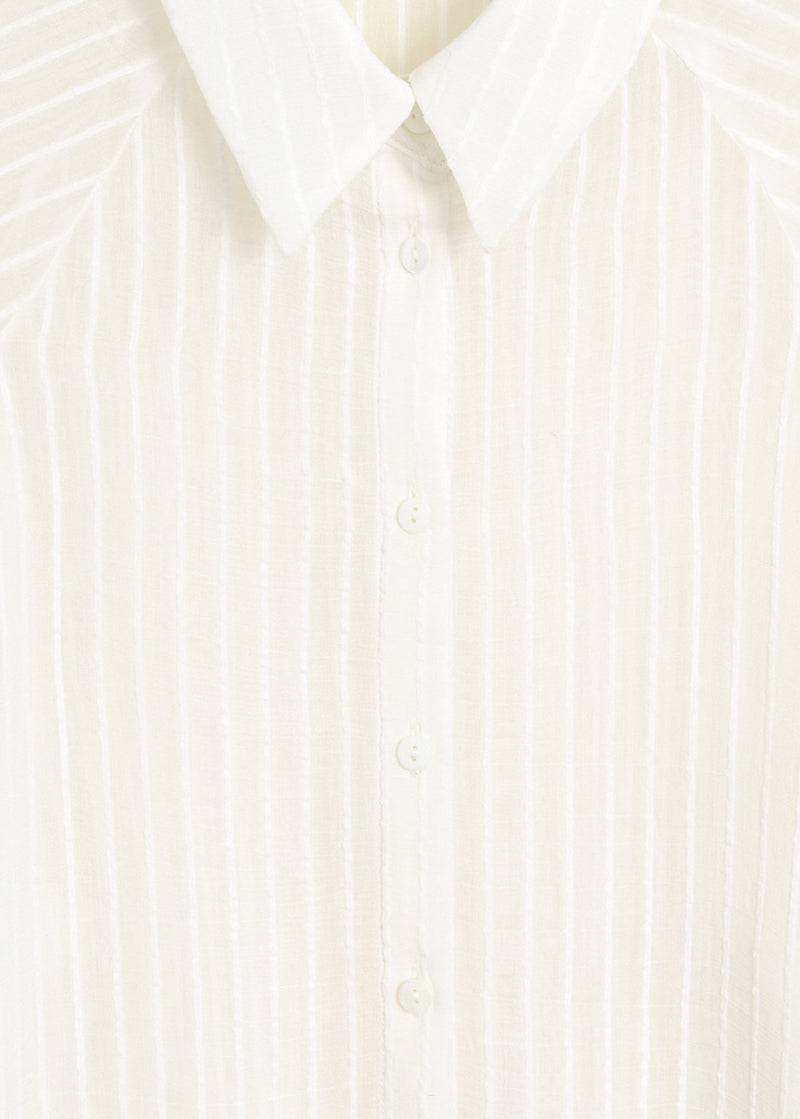 Puffed sleeves striped shirt
