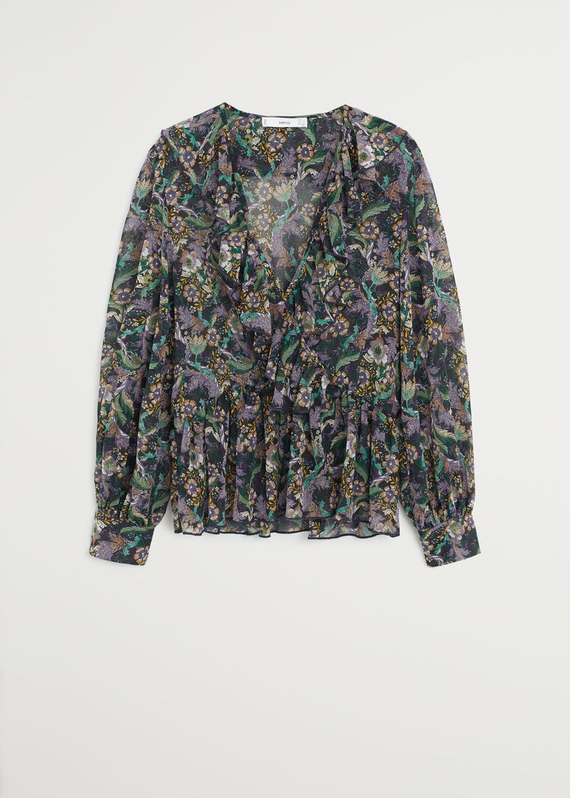 Wrap floral blouse