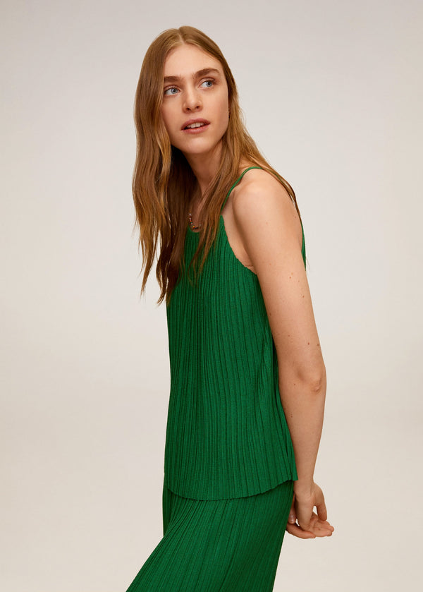 Mango Pleated strap top for Women - Medium Plane