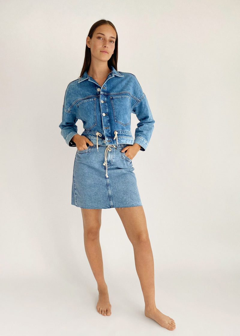 Knot denim skirt