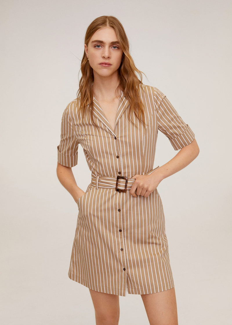 Mango Belted dress for Women - Medium Plane