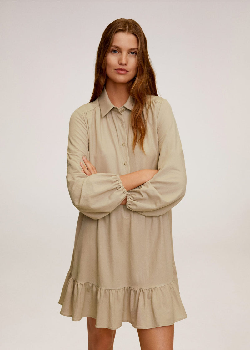 Mango Button shirt dress for Women - Medium Plane
