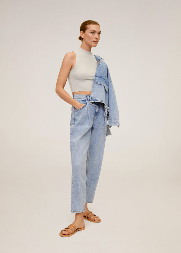 Mango Ribbed crop top for Women - General Plane