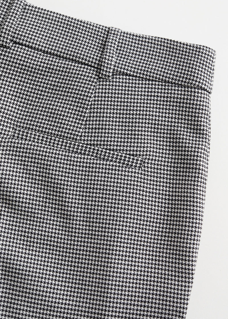 Houndstooth print straight trousers