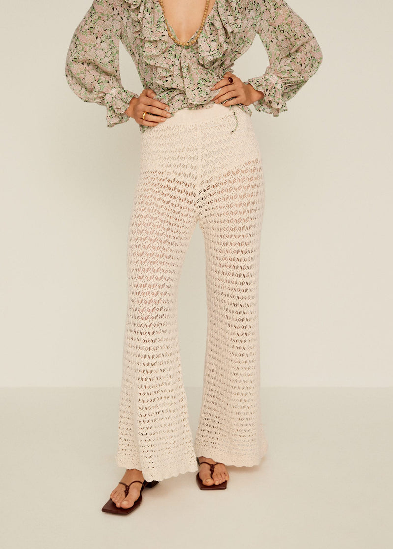 Mango Openwork cotton trousers for Women - Medium Plane