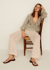 Openwork cotton trousers