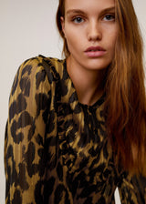 Mango Metallic thread leopard print blouse for Women - Medium Plane