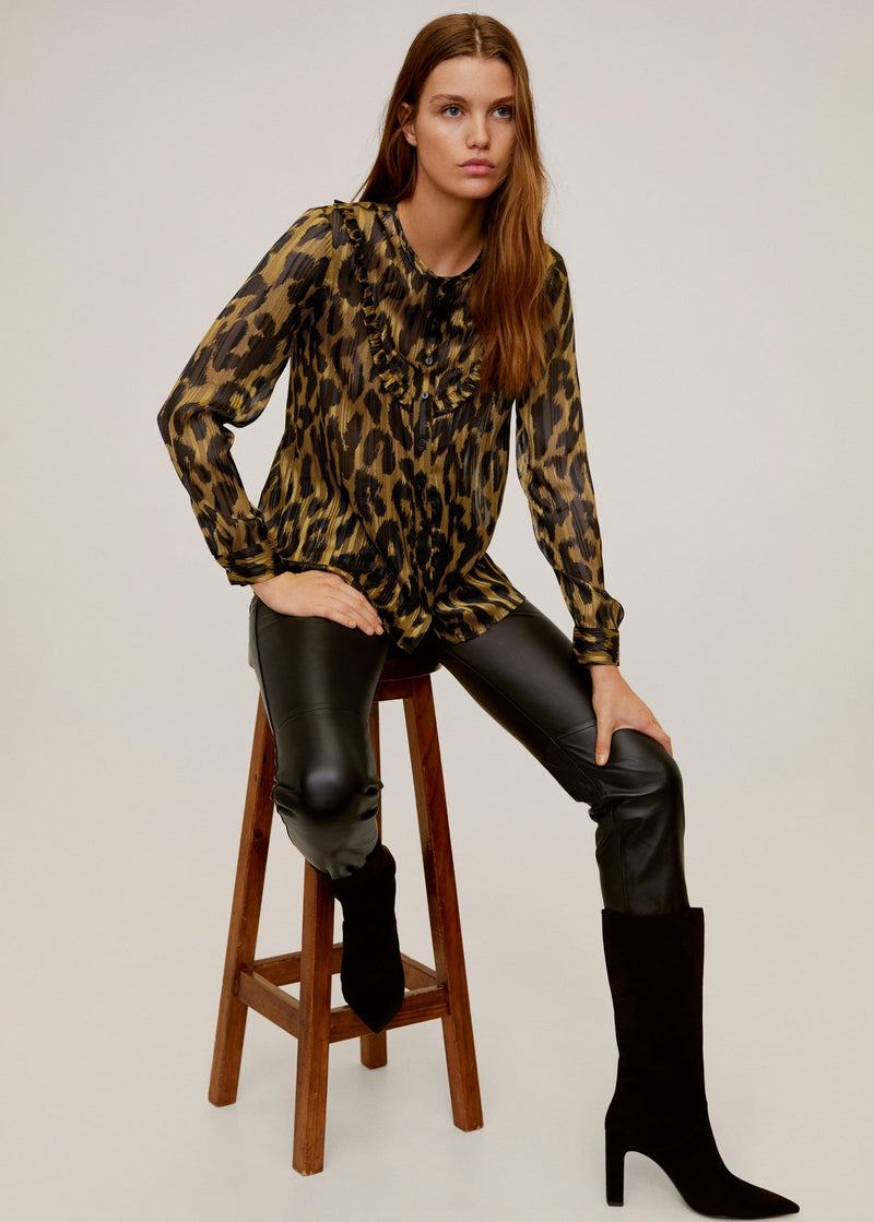Metallic thread leopard print blouse