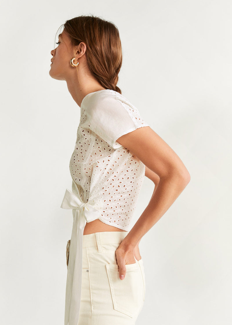 Mango Openwork detail blouse for Women - Medium Plane
