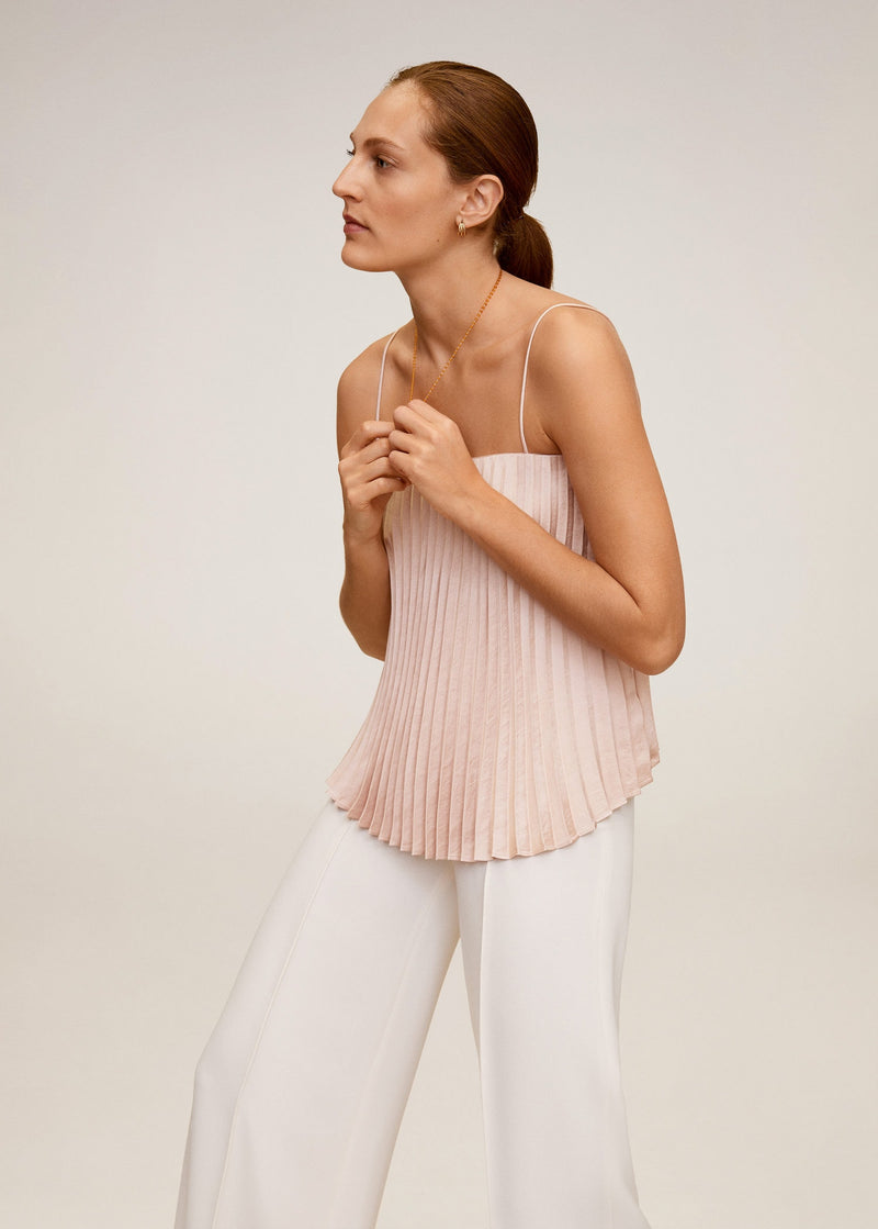Pleated satin top