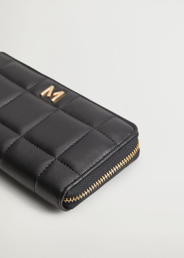Mango Quilted wallet for Women - Medium Plane