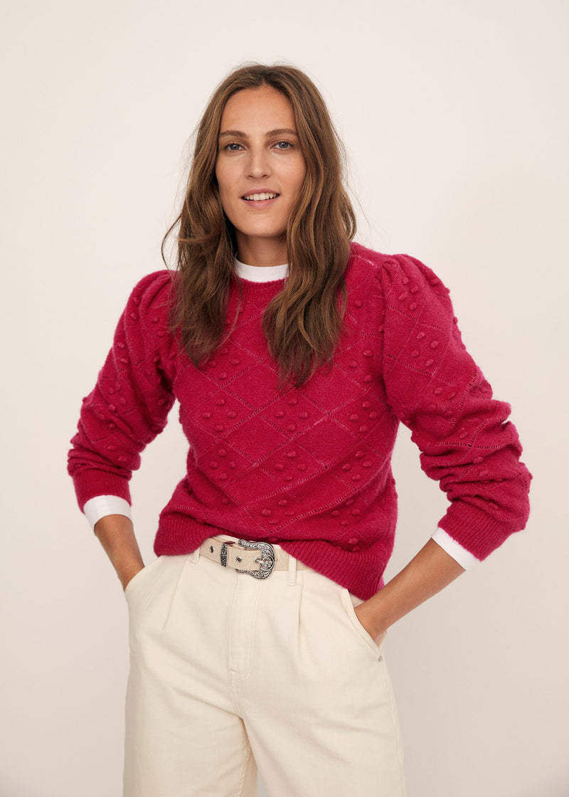 Embossed contrasting knit sweater