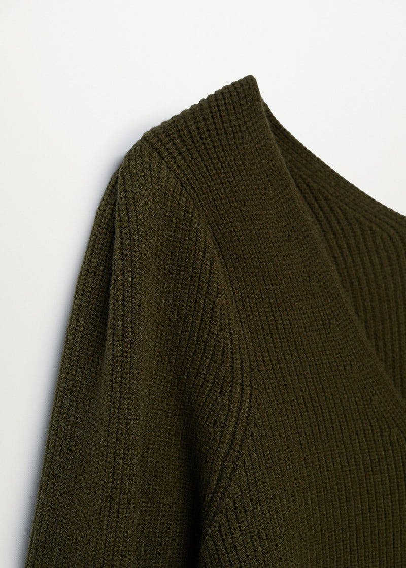 Puffed sleeves ribbed sweater
