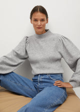 Mango Puffed sleeves ribbed sweater for Women - Medium Plane