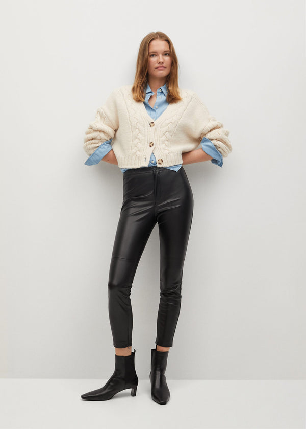 Mango Slim-fit faux leather trousers for Women - Medium Plane