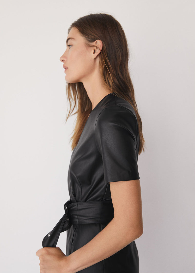 Faux-leather dress