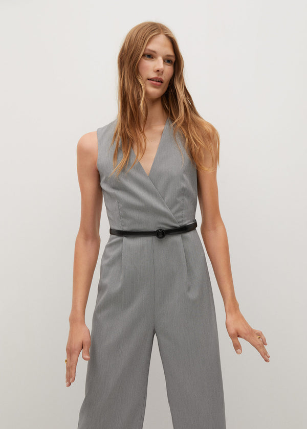 Mango Belt wrap jumpsuit for Women - Medium Plane