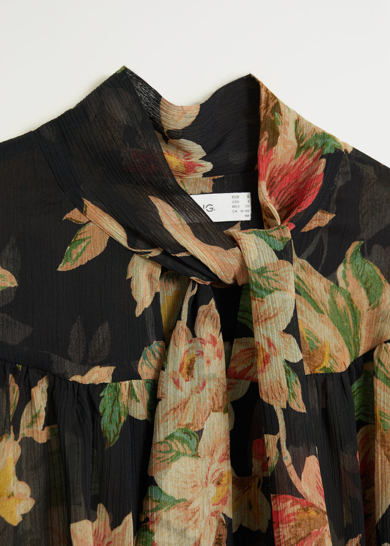 Recycled polyester printed blouse