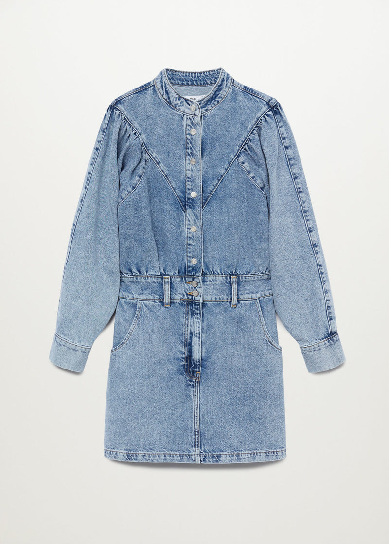 Denim dress with puffed sleeves