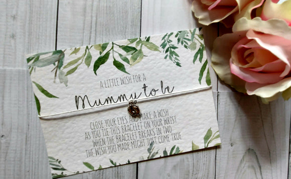 Botanical Greenery 'Mummy to be' Wish Bracelet-Wish Bracelet-Blossom Tree Party