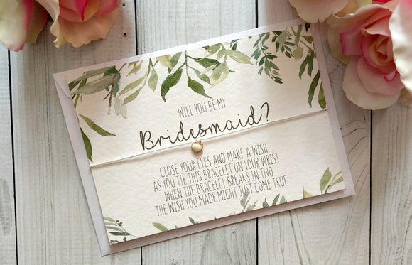 Botanical Greenery Will you be my bridesmaid? Wish Bracelet-Wish Bracelet-Blossom Tree Party