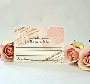 ROSE GOLD BABY SHOWER ADVICE FOR THE PARENTS TO BE CARDS-Advice Cards-Blossom Tree Party