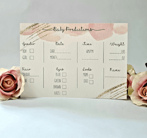 ROSE GOLD BABY SHOWER PREDICTION CARDS | PACK OF 10-Baby Prediction Cards-Blossom Tree Party