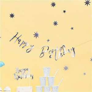 Happy Birthday Silver Banner | Happy Birthday Bunting - Blossom Tree Party