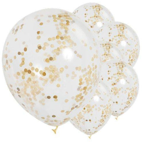 Gold Confetti Balloons | Pack of 6 - Blossom Tree Party