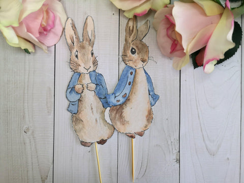 2 Large Peter Rabbit Cake Toppers