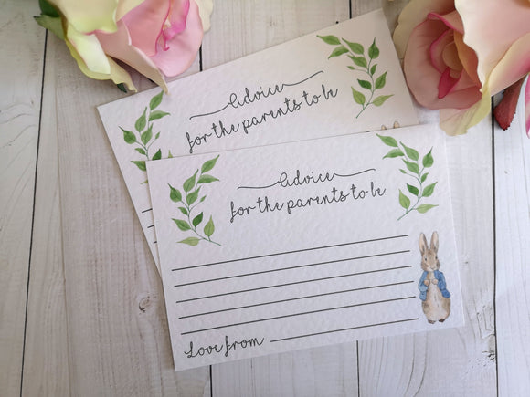 Peter Rabbit Baby Shower Advice for the Parents to be cards-Advice Cards-Blossom Tree Party