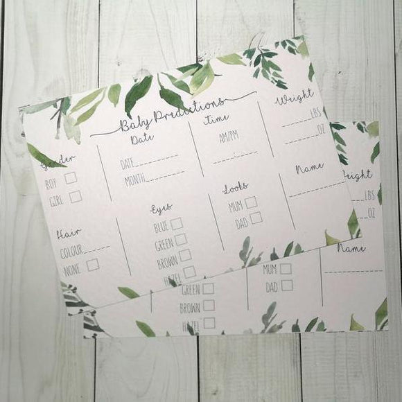 Botanical Baby Shower Prediction cards | Pack of 10-Baby Prediction Cards-Blossom Tree Party