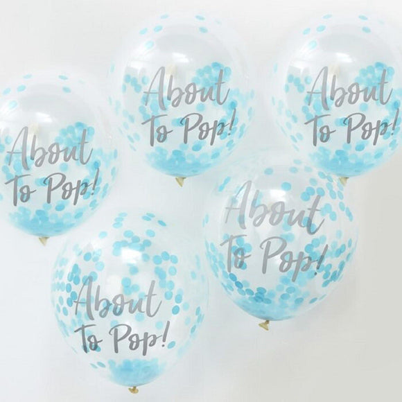 About to pop! Baby Shower Confetti Balloons | Blue | Pack of 5-Balloons-Blossom Tree Party