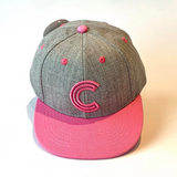 Letter C Cap Baby Kids Adult Grey Pink