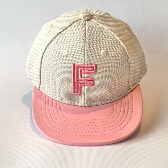 Letter F Cap Baby Kids Adult Pink Oatmeal