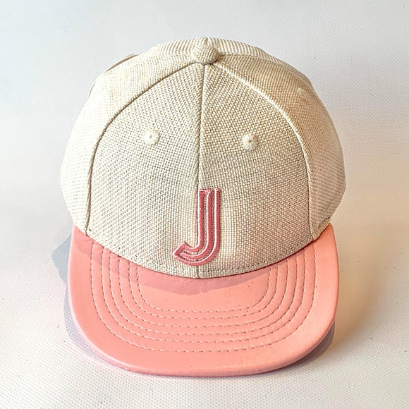 Letter J Cap Baby Kids Adults Oatmeal Pink