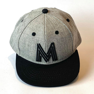 Letter M Cap Baby Childrens Adults Sizes in Grey Black