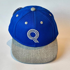 Letter Q Cap Baby Childrens Adults Sizes Blue Grey