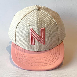 Letter N Cap Baby Children Adult Sizes Oatmeal Pink