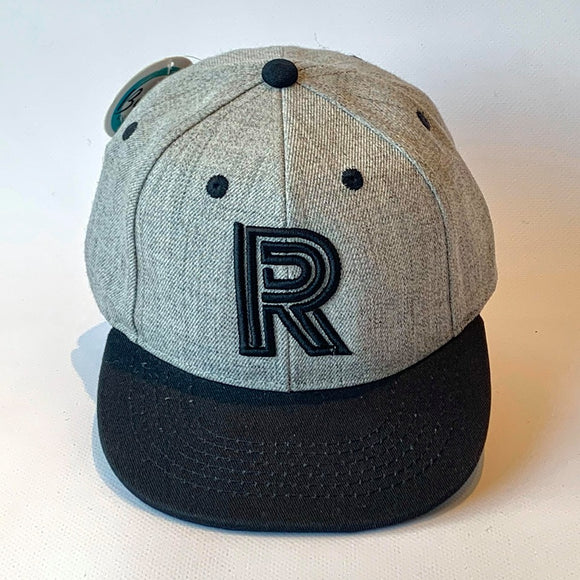 Letter R Cap Baby Children Adults Size Grey Black