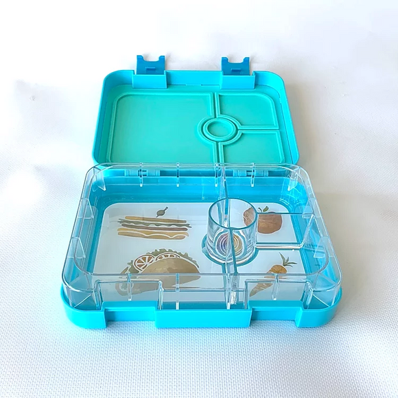 Bento lunch box in blue inside