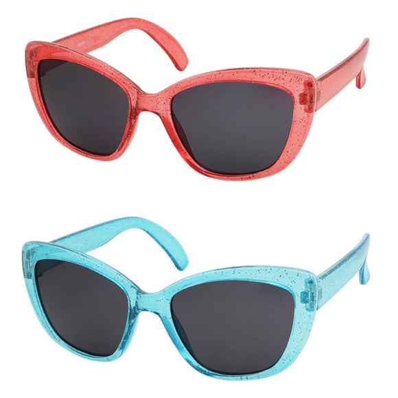 kids sunglasses girls cat eye red and blue glitter