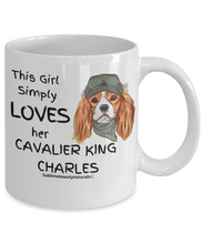 Load image into Gallery viewer, This Girl Simply Loves Her Cavalier King Charles Coffee Mug. Delightful Gift or Quality Mug for the Home.  11 Oz.