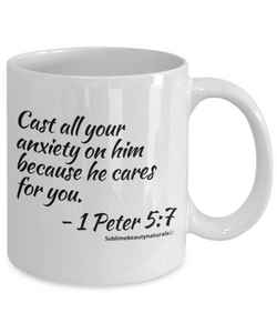 Bible Verse Coffee Mugs - Cast All Your Anxiety on Him. Novelty Collectible, One or All.