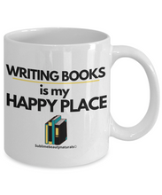 Load image into Gallery viewer, Writing Books is My Happy Place Mug. Perfect for Authors or Self Gift.