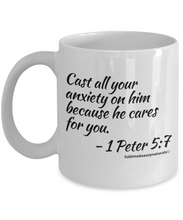 Load image into Gallery viewer, Bible Verse Coffee Mugs - Cast All Your Anxiety on Him. Novelty Collectible, One or All.
