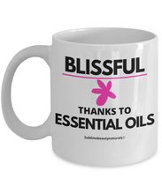 Load image into Gallery viewer, Blissful Thanks to Essential Oils Coffee Mug. Gift for Aromatherapy Enthusiastics. Ceramic 11 Oz.