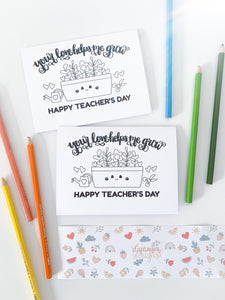 Teacher's Day Colouring Card - Printable