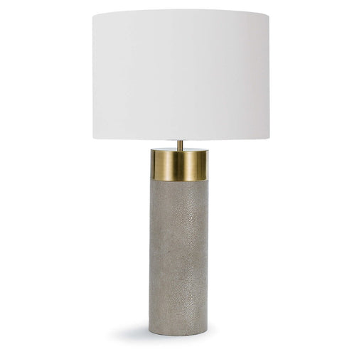 Harlow Ivory Grey Shagreen Cylinder Table Lamp | Regina Andrew